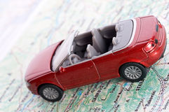 Car on the map Royalty Free Stock Photography