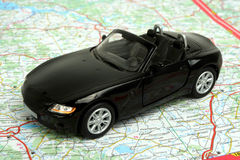 Car on map Royalty Free Stock Photography