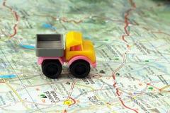 Car on a map Stock Photos