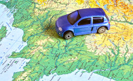 Car on a map. Of France Royalty Free Stock Photo