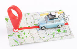 Car with map and geographic location. Map with car, geographic location Stock Photo