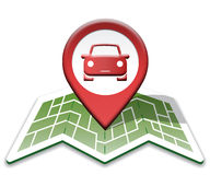 Car Map Indicates Auto Vehicle And Direction Stock Images