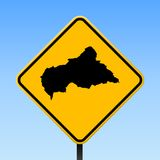 CAR map on road sign. Square poster with CAR country map on yellow rhomb road sign. Vector illustration stock illustration