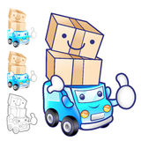 Car mascot moving a box. Product and Distribution System Charact Royalty Free Stock Photos