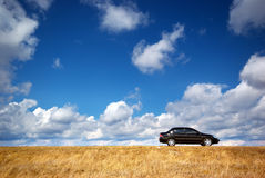 Car on meadow. Black car on yellow meadow Royalty Free Stock Image