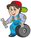 Car mechanic. On white background - illustration