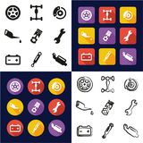 Car Mechanic All in One Icons Black & White Color Flat Design Freehand Set. This image is a vector illustration and can be scaled to any size without loss of Stock Photos