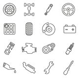 Car Mechanic or Car Parts Icons Thin Line Vector Illustration Set. This image is a vector illustration and can be scaled to any size without loss of resolution Stock Photo