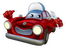 Car mechanic cartoon character. An illustration of a red cartoon car character wearing a cap and holding a spanner while giving a thumbs up Stock Image