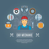 Car Mechanic Concept Icons. Set. Vector illustration Stock Photos