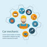 Car mechanic. With flat icons tools and spare parts, concept. Repair machines, equipment. Car service concept. Vector illustration. Auto mechanic icon. Repair Royalty Free Stock Photo