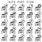 Car mechanic with flat icons. Tools and spare partst Royalty Free Stock Photo
