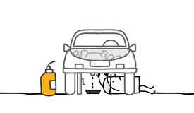Car & mechanic. Car & mechanic - hand drawn cartoon characters Royalty Free Stock Images