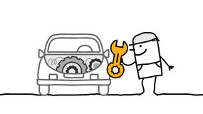 Car & mechanic. Car & mechanic - hand drawn cartoon characters Royalty Free Stock Photography