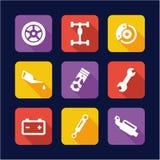 Car Mechanic Icons Flat Design Stock Photos