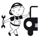 Car mechanic. Illustration of smiling car mechanic Royalty Free Stock Photography