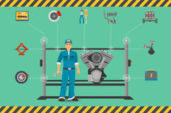 Car mechanic repair service center concept with tuning diagnostics flat elements and worker man. Royalty Free Stock Photo