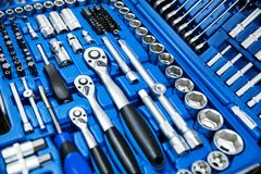 Car mechanic tool set. In blue box royalty free stock photos