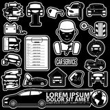 Car mechanic. With tools and spare parts icons. In vector style Stock Photo