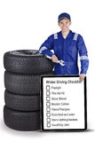 Car mechanic and tyres with tips on board Stock Photo
