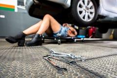 Car mechanic woman Stock Image