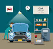 Car Mechanic workers in blue car service Stock Photos