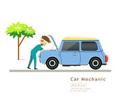 Car Mechanic workers in blue car service engine Stock Photos