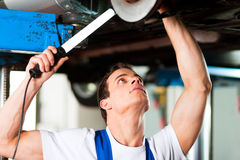Car mechanic in workshop Royalty Free Stock Photos