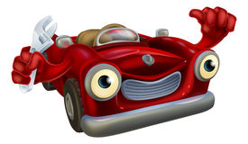 Car mechanic with wrench. Cartoon convertible red classic sports car auto repair garage mechanic character holding a wrench and giving a thumbs up gesture Stock Photos