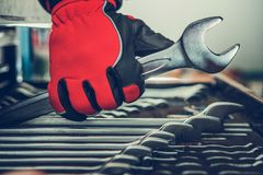 Car Mechanic Wrenches. Professional Car Mechanic Wrenches Cabinet. Choosing Right Tool. Closeup Photo. Automotive Theme stock photography