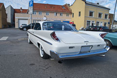 Am car meeting in halden (1960 desoto). Each wednesday during the summer months there is a display of american vintage cars in the center of halden city Stock Image