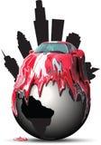 Car melting over a globe royalty free stock image