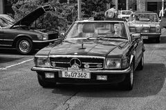 Car Mercedes-Benz R107, 280SL (black and white) Royalty Free Stock Photography