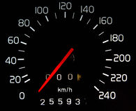 Car Mileage. Distance, speed dials tell the car Stock Photo