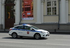 Car military traffic police the streets of Moscow. Royalty Free Stock Image