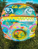 Car minibus vintage Hippie hipster sketchbook with spare wheels Royalty Free Stock Images