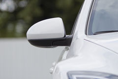 Car mirror. White mirror white car back on car parking Stock Image