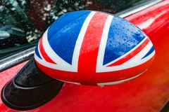 Great Britain. Car mirror in Detail with flag of Great Britain Royalty Free Stock Image