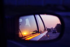 Car mirror reflection royalty free stock images