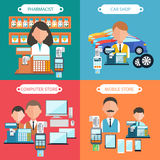 Car, Mobile, Pharmacist and Computer Store Royalty Free Stock Photography