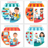 Car, mobile, pharmacist and computer store Royalty Free Stock Image