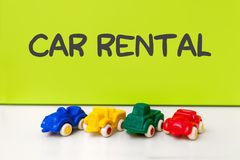 Car model rental. Car model on green background with copyspace. concept of car rental, auto car insurance and travelling stock images