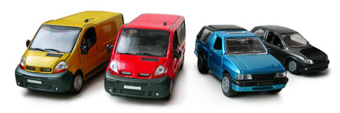 Car models - cargo, passenger van, pickup. Scale car models - cargo van, passenger van, pickup, coupe. Hobby, collection. Isolated Objects with shadow. Clipping stock image