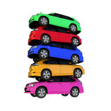 Car models. A row colourful cars isolated with white background Royalty Free Stock Photos