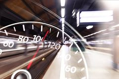Modern car speedometer on background royalty free stock photography