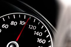 Modern car speedometer. Close up shot of the stock photography