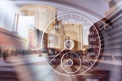 Modern car speedometer on urban city background royalty free stock photos