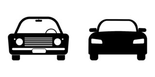 Free Car Modern Vintage Font View Set. Black And White Illustration Depicting Old And New Cars. EPS Vector Stock Photo - 183239920