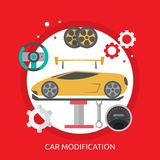 Car Modification Conceptual Design. Great flat illustration concept icon and use for mechanic, car repair, industrial, transport, business concept, and much more Stock Photography