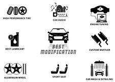 Car modification. (high performance tire, audio, engine tuning, lubricant, custom muffler, alumunium wheel, sport seat, car wash detailing) illustration, easy Royalty Free Stock Photography